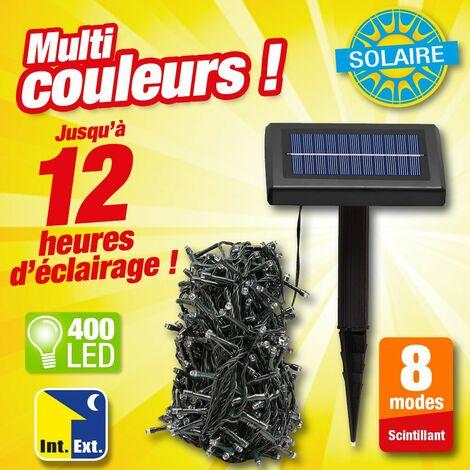 Guirlande à énergie solaire 400 LED multi couleurs