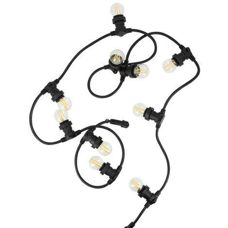 Lot guirlande extérieure, extensible, câble noir + 10 ampoules retro LED, blanc chaud culot E27 | Xanlite