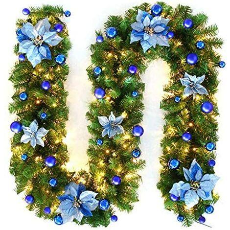 Guirlande d'arbre de Noël 270 cm, guirlande d'arbre artificiel de Noël décorée de lumières LED pour cheminée d'escalier de porte d'arbre de Noël (bleu)