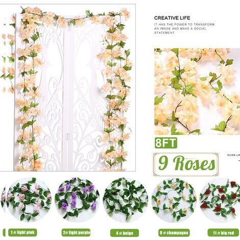Guirlande de Rose artificielle 9 têtes salon tuyau mural décoration de jardin accessoires de mariage décoration 9 # Champagne Champagne 8 pieds (1 pc 8 pieds)