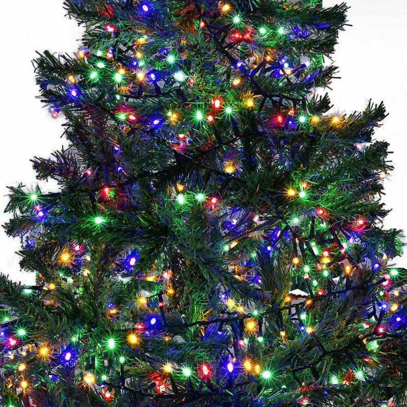 Tacohan Couronne de Noel avec lumi/ères 2m 10 LED Guirlande Noel aux Fruits Rouges /étamines Jaunes Feuilles de Houx Fleurs de Poinsettia pour la d/écoration de Vacances et la d/écoration de la Maison