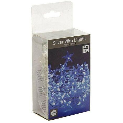 Guirlande étoile LED lumineuse à piles Blanc