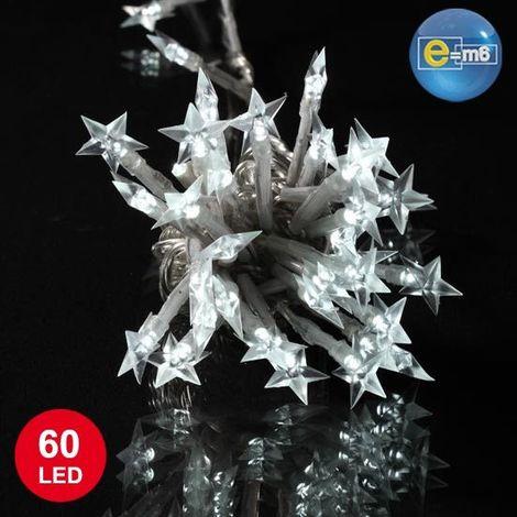 Guirlande étoiles blanches 5 mètres 60 LED