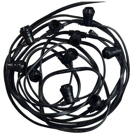 Guirlande Foraine noire 10 Douilles E27 Câble plat 10m