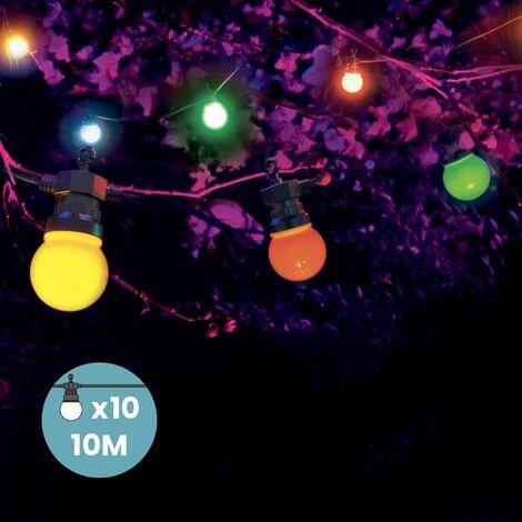 Guirlande Guinguette 10M Multicolore- Guirlande Electrique Exterieur 10 Bulbes Bleu Rouge Jaune Vert - Guirlande Guinguette Exterieur Decoration Romantique, Déco pour Terrasse et Jardin - Multicolore