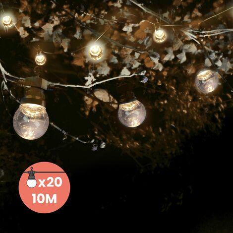 Guirlande Guinguette 10M Transparent - Guirlande Lumineuse Extérieur 20 Bulbes Transparents- Guirlande exterieur pou décoration jardin et maison - Noir