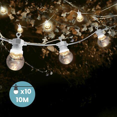 Guirlande Guinguette 10M Transparente Cable Blanc - Guirlande Electrique Exterieur 10 Bulbes Transparent- Guirlande Guinguette Exterieur Decoration Romantique, Déco pour Terrasse et Jardin - Transparent