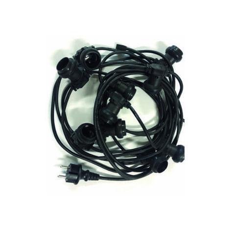 GUIRLANDE GUINGUETTE 20M - 20 DOUILLES E27 - INTERCONNECTABLE - Noir