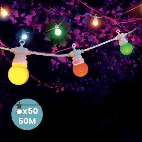 Guirlande Guinguette 30M Cable Blanc - Guirlande Lumineuse Exterieure 30 Bulbes Bleu Rouge Jaune Vert - Guirlande Guinguette Exterieur de 30M + 3M de Cable - Multicolore