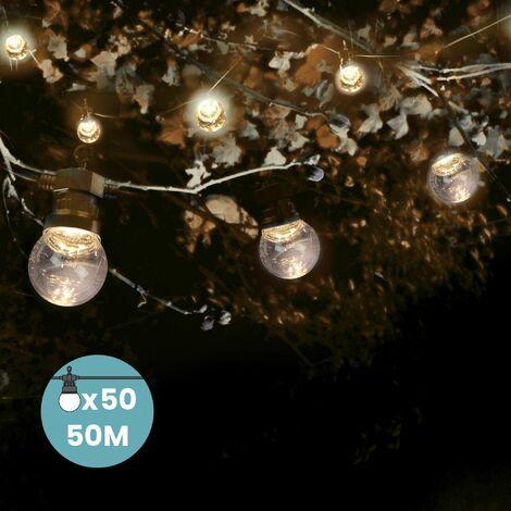 Guirlande Guinguette 50M Multicolore - Lampe Guinguette Extérieur 50 Bulbes Bleu Vert Jaune Rouge - Guirlande Ampoule Exterieur 50M + 3M de Cable Blanc - Multicolore