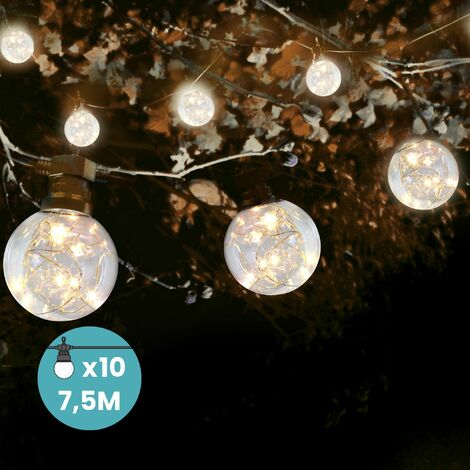 """main image of """"Guirlande Guinguette 7,5M 10 bulbes à MicroLed avec Rallonge de 3M - Guirlande Lumineuse 10 Bulbes Transparent et MicroLed - Guirlande Guinguette Lumineuse Extérieur et Intérieur - Noir"""""""