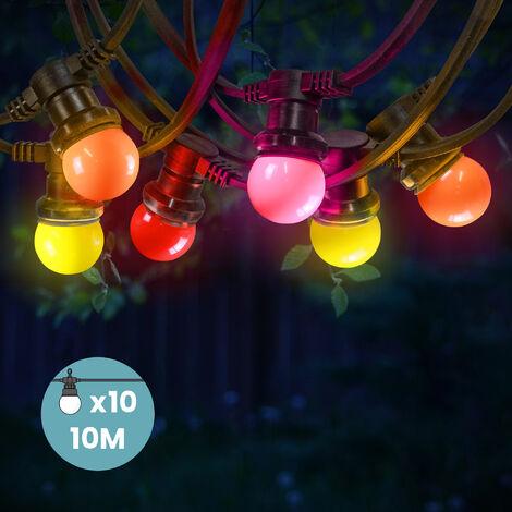 Guirlande Guinguette Ampoules E27 Couleurs Chaudes 10 m - Jaune (x3) Orange (x3) Rouge (x2) Rose (x2)