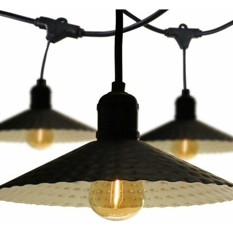 Guirlande guinguette avec abat-jour pour extérieur 10m IP65 pour ampoules E27