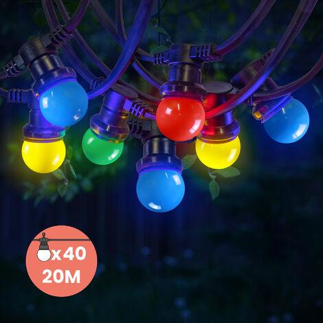 Guirlande Guinguette IP65 20M 40 Bulbes Multicolores - Multicolore
