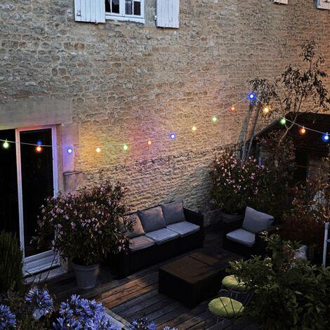 Guirlande Guinguette LED 10M IP44 pour 10 ampoules E27 (incluses)