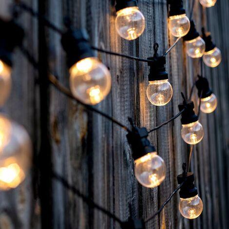 Guirlande Guinguette LED 10M IP44 pour 10 ampoules E27 (non fournies) - Noir