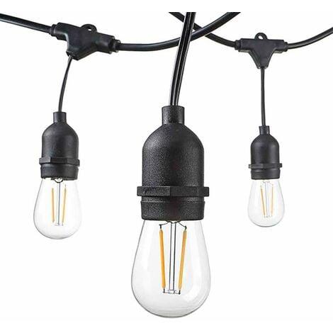"""main image of """"Guirlande Guinguette Noire Suspendue IP44 14,4m pour 15 Ampoules E27"""""""