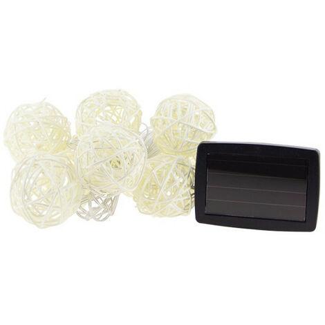 Guirlande LED solaire avec 10 boules en Osier,longueur 5m, Blanc chaud IP44 - Spécial extérieur | Xanlite