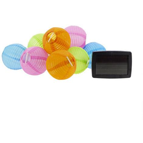 Guirlande LED solaire avec 10 boules Multicolores, longueur 5m, Blanc chaud, IP44 - Spécial extérieur | Xanlite