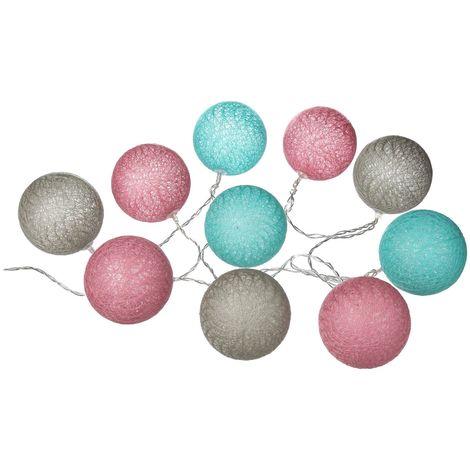 Guirlande lumineuse 10 Boules - Diam. 6 cm. - Multicolore - Rose