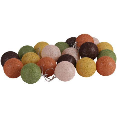 Guirlande lumineuse 20 boules Vintage - Diam. 6 cm - Multicolore - Marron