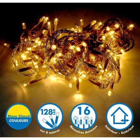 Guirlande lumineuse 8 mètres 128 LED - Blanc Chaud extérieur