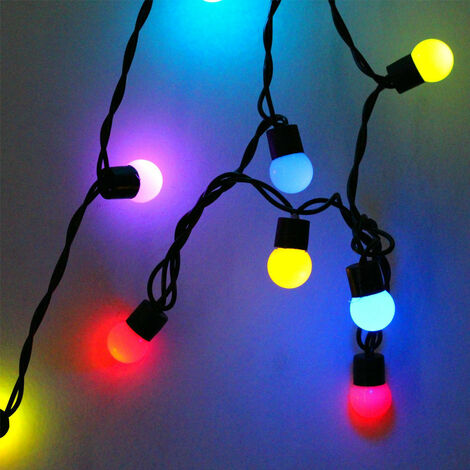 Guirlande lumineuse à LED 18mm Petite boule jaune Grande boule ronde 5 mètres 50 lumières Veilleuse Lumières décoratives Lumières de Noël