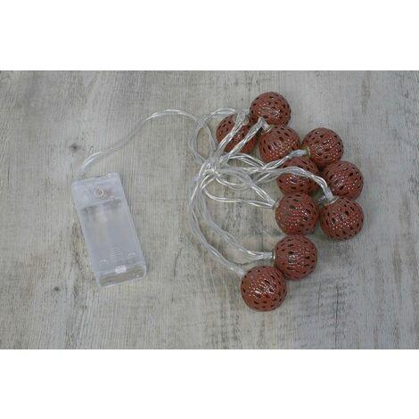 Guirlande Lumineuse Boules Marocaines Bronze - Blanc chaud