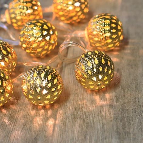 Guirlande Lumineuse Boules Marocaines Or - Or