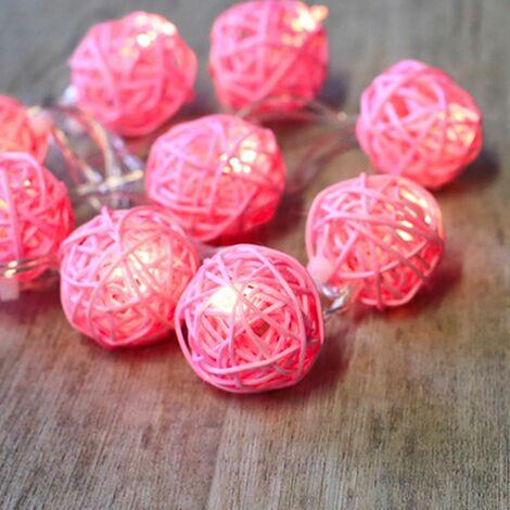 Guirlande Lumineuse Boules Rotin Rose - Rose Pâle