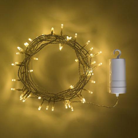 guirlande lumineuse de 100 led blanc chaud pour ext rieur. Black Bedroom Furniture Sets. Home Design Ideas