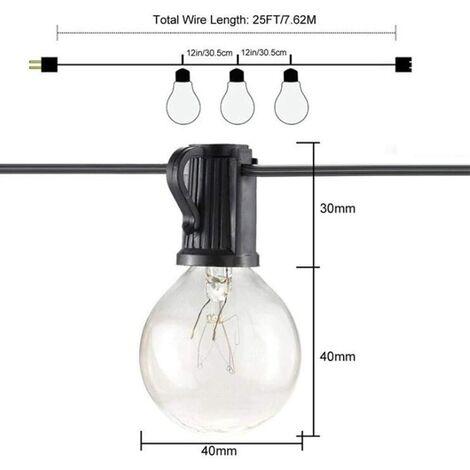Guirlande lumineuse d'extérieur LED G40 25 lumières de terrasse toutes saisons pour décoration de jardin, bistro, fête, noir