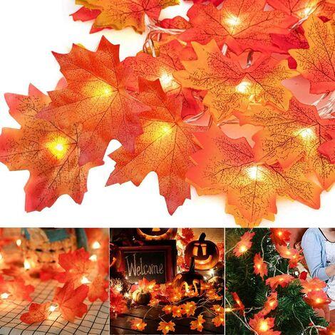 Guirlande lumineuse en érable 20 LED 3 m Guirlande d'automne, automne, décoration automne, feuille d'érable, décoration automne, décoration pour Halloween, Thanksgiving, Noël, balcon, terrasse, salon