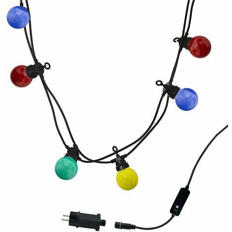 Guirlande lumineuse extérieur connectable 10 globes LED multicolore PARTY GUINGUETTE 6.50m 8 modes