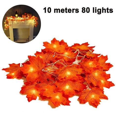 Guirlande lumineuse feuille d'érable lumière scintillante décorations d'éclairage suspendues pour jardin intérieur extérieur Halloween Thanksgiving décoration de fête de noël dégradé de couleur