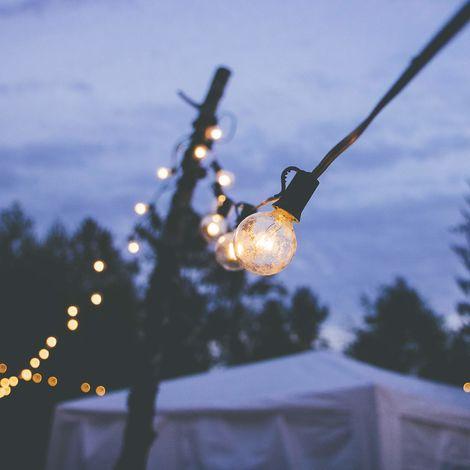 Guirlande lumineuse guinguette 25 globes ampoules avec 2 de rechange Lampes Chaud étanche Lumière Décoration Extérieur Intérieur pr Mariage Anniversaire Chambre Jardin