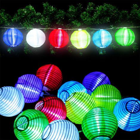 Guirlande Lumineuse Lanterne LED 12 Lampions de couleurs differentes Noël, anniversaire
