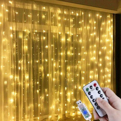 Guirlande lumineuse LED 3 x 3 m IP65 étanche 8 modes - Blanc chaud pour salon, maison, chambre, fête, Noël, mariage, anniversaire, fenêtre