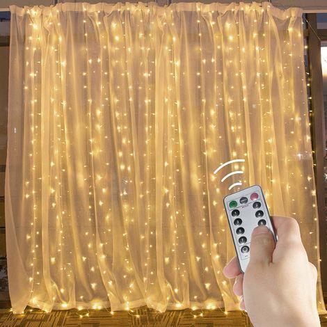 Guirlande lumineuse LED, guirlande lumineuse de rideau étanche à télécommande à huit modes, rideau lumineux en fil de cuivre de lumière cascade USB