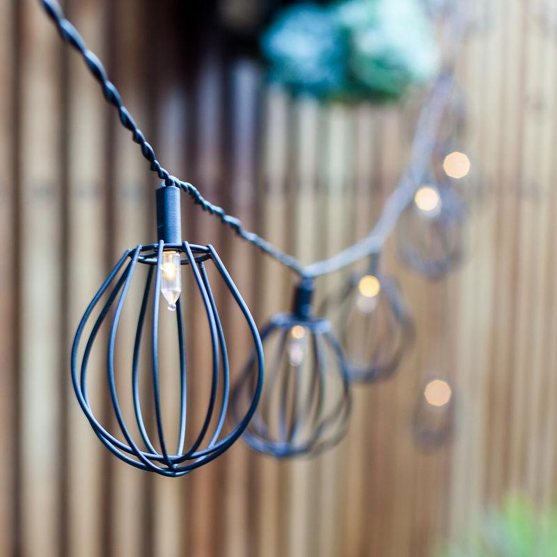 Lumineuse Industriel Noir Lanternes Lights4fun Led En Solaire Style Cages 10 Guirlande Métal VGLMqSUjzp