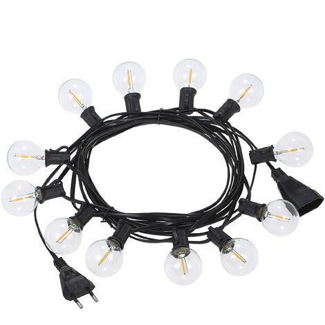 Guirlande lumineuse LED Tomshine E12 G40 12 douilles + 1 ampoule de rechange Longueur totale 6,5 m Norme europeenne