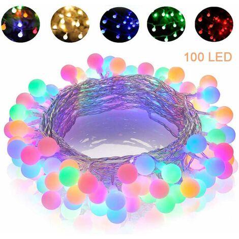 Guirlande lumineuse Multicolore 10M 100 LEDs, 8 Modes Eclairage, Télécommande, IP65, Convient pour la décoration Extérieure/Intérieure, Sapin Noël, Soirée Fête