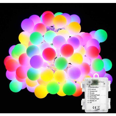 Guirlande Lumineuse Multicolore, 50 LED Lumières de Boule de Noël 8 Modes avec Fonction Minuterie, Imperméable Guirlande LED Lumineuse pour Intérieur et Extérieur, Chambre, Fête, Mariage