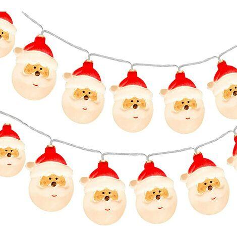 Guirlande Lumineuse Père Noël, 9.8ft 20 LED À Piles Fées Lumières LED Guirlande Lumineuse pour Noël Décoration Maison Jardin Fête Extérieur Intérieur [ Non Incluses 3 * Piles AA]