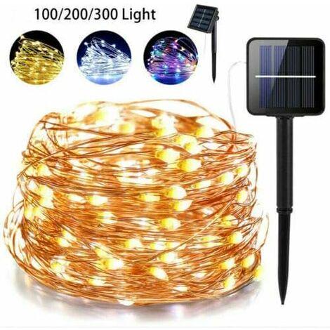 Guirlande Lumineuse Solaire 20M 100-300 LEDs,8 Modes d'Éclairage, Chaîne de fil cuivre LED Étanche pour Jardin,Terrasse,Balcon,Cour,Maison,Noël, Mariage, Fête-Lumières couleur blanc