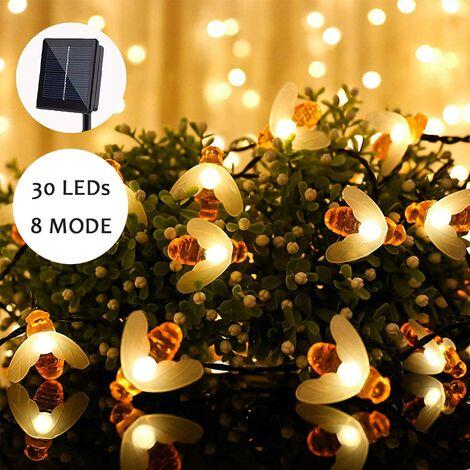 Guirlande lumineuse solaire à LED pour extérieur - 30 lumières blanches chaudes - Guirlande lumineuse d'extérieur étanche - Décoration pour jardin, terrasse, pelouse, fête, mariage, maison, balcon