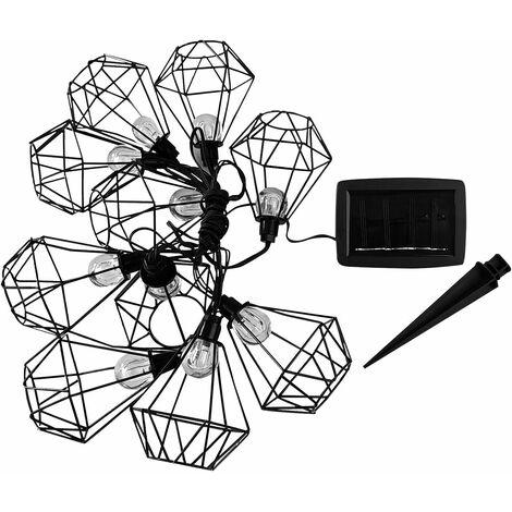 Guirlande lumineuse solaire acier cage diamant 10 ampoules rondes LED blanc chaud MILY 3.90m