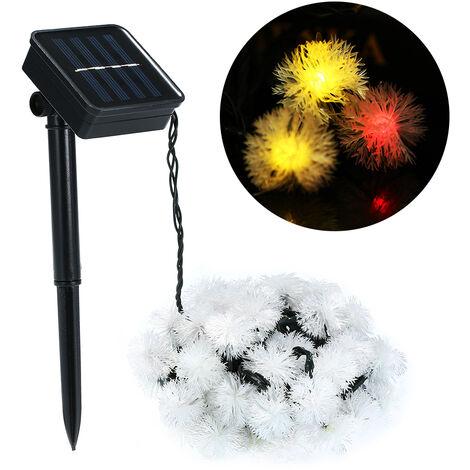 Guirlande lumineuse solaire boule de fourrure 50 LED avec 8 motifs