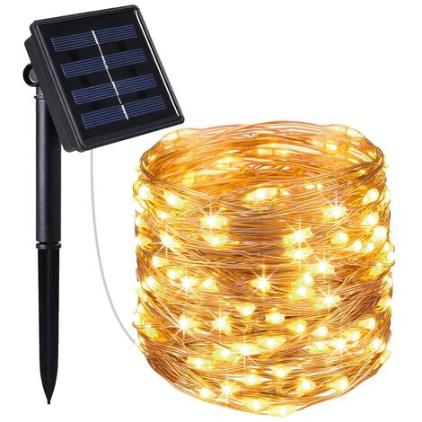 Guirlande lumineuse solaire en cuivre 200 micro LED blanc chaud SKINNY SOLAR 21.50m 8 modes