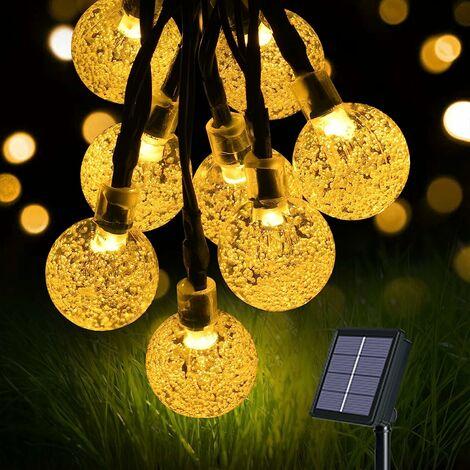 Guirlande Lumineuse Solaire, Lumières de Jardin(60 LED 8 modes)11M /36ft Cristal Boules, Exterieur Étanche Lampe pour Noël, Mariage, Fête, Maison(Blanc Chaud) [Classe énergétique A+++]